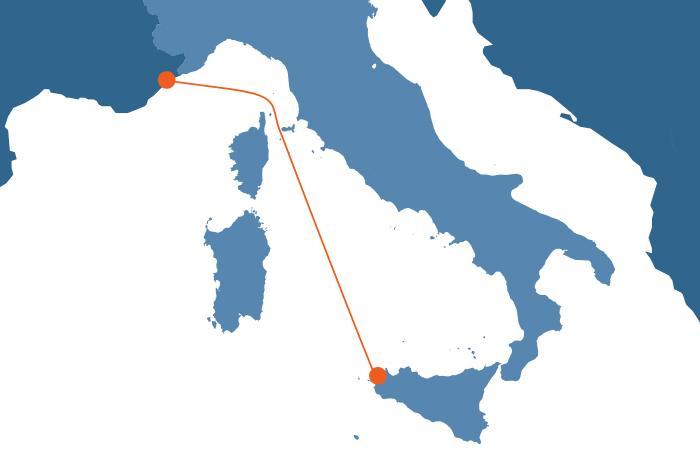 Trapani - Tolone (Provenza) - Nizza (Costa Azzurra)